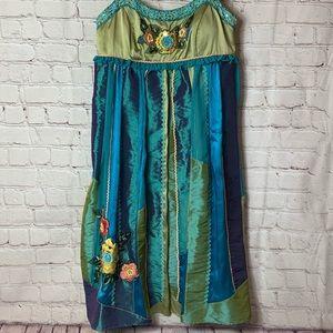 Cache Silk Blend Embroidered Dress Size 6